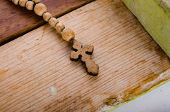 The bible and cross in religious concept Stock Photography