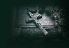 Bible and cross religious concept image Royalty Free Stock Images