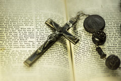 Bible and cross religious concept image Stock Images