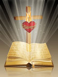 Bible with cross and sacred heart Stock Image