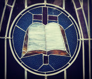 Bible, Cross, Stained Glass Stock Images