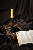 Bible and crown of thorns Royalty Free Stock Photos