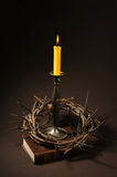 Bible and crown of thorns Stock Images