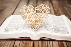 Bible and day in love. A Bible and happy valentine`s day in love stock image