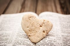 Bible and day in love. A Bible and happy valentine`s day in love royalty free stock image