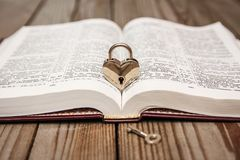 Bible and day in love. A Bible and happy valentine`s day in love stock images