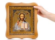 Bible de foi d'icônes à disposition photographie stock libre de droits