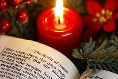 Bible detail. Open Bible and Christmas decorations Stock Photo