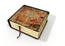 Bible with devil as bookmark. 3D render of old bible with devil tail poking from between pages Royalty Free Stock Photo