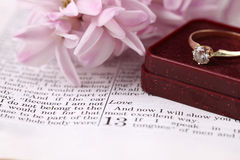 Bible and engagement ring Stock Photography