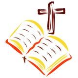 Bible et croix ouverte, Christian Reading et foi illustration de vecteur