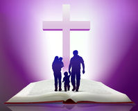 Bible et famille illustration de vecteur