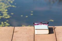 Bible et lunettes pourpres près de la piscine Images libres de droits