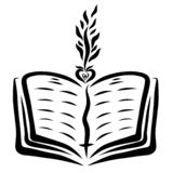 Bible et pousse ouvertes du coeur illustration de vecteur