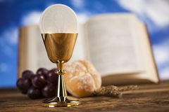 Bible, Eucharist, sacrament of communion background. Sacrament of communion, Eucharist symbol royalty free stock images