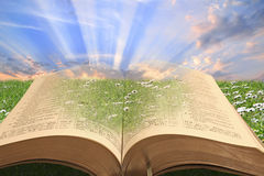 The bible...a gift from god!. Conceptual photo of the holy bible with sun rays shining through book depicting spiritual light from god royalty free stock photos