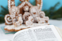 Bible and gingerbread nativity scene Stock Photography