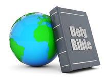 Bible and globe royalty free illustration