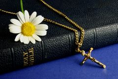 Bible and Gold Crucifix. Old bible, with gold crucifix and daisy Royalty Free Stock Photography