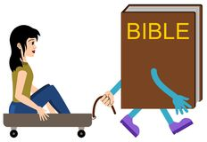 Bible guide. A woman sitting on a cart pulled by a walking bible vector illustration