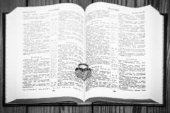 Bible and day in love. A Bible and happy valentine`s day in love stock photos