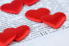 Bible and hearts Stock Images