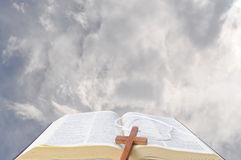 Bible and the heavens Royalty Free Stock Photo