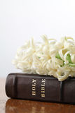 Bible and hyacinth Stock Image
