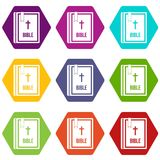 Bible icon set color hexahedron Stock Images