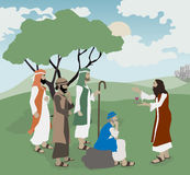 Bible illustration Jesus Explains Love. To teachers of the law based on Mark 12:28-34 Royalty Free Stock Photos