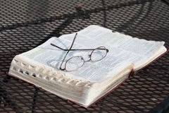 Bible on Iron Table Stock Photography