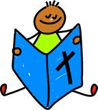 Bible kid. Little ethnic boy reading the bible - toddler art series royalty free illustration