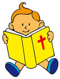 Bible Kid. Little Caucasian boy, red-haired child reading sat in the floor the Bible with blue slippers. Toddler art series Royalty Free Stock Photo