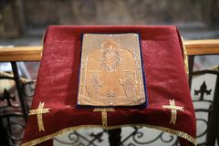 Bible and lectern. In armenian apostolic church stock images