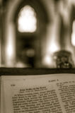 Bible on the lectern, Shallow depth of field HDR Stock Photo