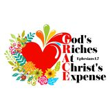 Bible lettering. Christian art. GRACE - God`s Riches At Christ`s Expense. stock illustration