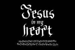 Bible lettering. Christian art. Jesus in my heart. Stock Photo