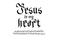 Bible lettering. Christian art. Jesus in my heart. Stock Photography