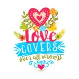 Bible lettering. Christian art. Love covers over all wrongs. vector illustration