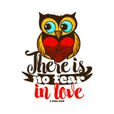 Bible lettering. Christian art. There is not fear in love.  royalty free illustration