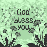 Bible lettering God bless you with dandelions. Bible lettering God bless you with flying dandelions Royalty Free Stock Photography