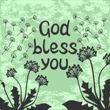 Bible lettering God bless you with dandelions. Bible lettering God bless you with flying dandelions vector illustration