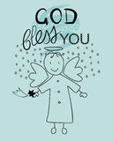 Bible lettering God bless you and little angel. With a falling star Royalty Free Stock Photos