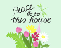 Bible lettering Peace to this house Stock Images