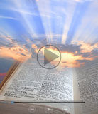 Bible light video clip. Photo of bible spiritual light with video clip icons for computer,ipad,tablet devices etc Royalty Free Stock Photography