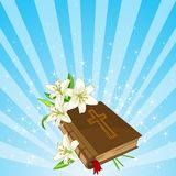 Bible and lily flowers background. Radial Easter place card  with Bible and lily flowers Stock Image