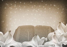 Bible and lily flowers Royalty Free Stock Images
