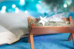 Bible manger and native scene abstract christmas background concept with first star Royalty Free Stock Photography