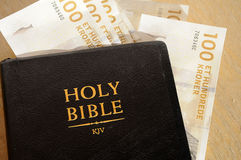 BIBLE AND MONEY Stock Image