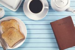 Bible On A Breakfast Tray Ready For A Personal Bible Study Royalty Free Stock Image